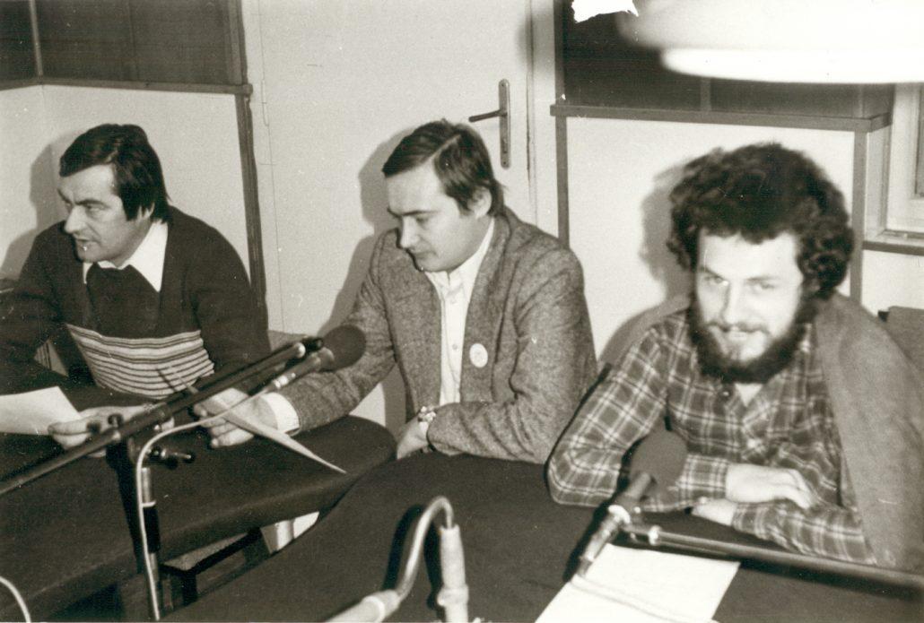 Willy Graf, Josef Reil und Johann Wolfart im Dezember 1976 im Studio Fünfkirchen Foto: NZ-Archiv/Johann Schuth